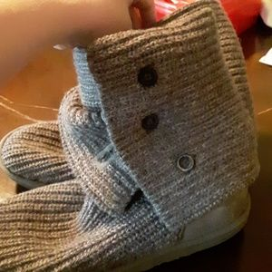 Ugg boots size 9. Stqin on back of one boot.